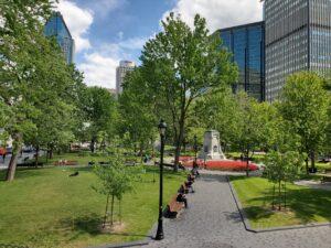 bench city road landscape